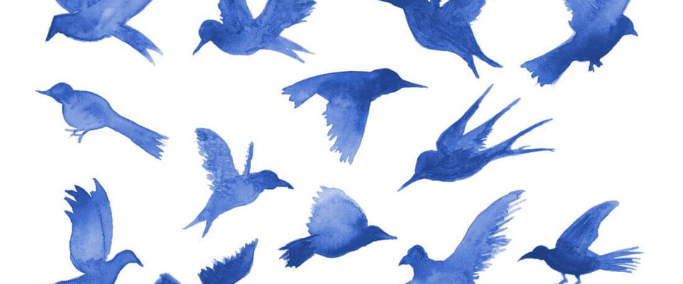 Blue Birds In Flight - Minimalist Modern Art Painting - Bird Wildlife Print Poster by Sina Irani | Buy Posters, Frames, Canvas  & Digital Art Prints