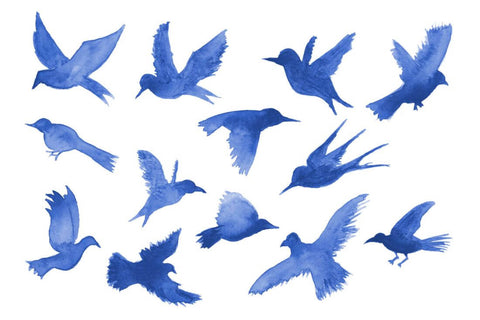 Blue Birds In Flight - Minimalist Modern Art Painting - Bird Wildlife Print Poster