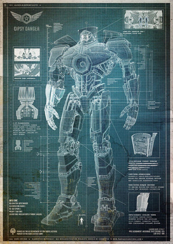 Blueprint Americas Gipsy Danger - Pacific Rim - Tallenge Hollywood Sci-Fi Movie Poster by Tim