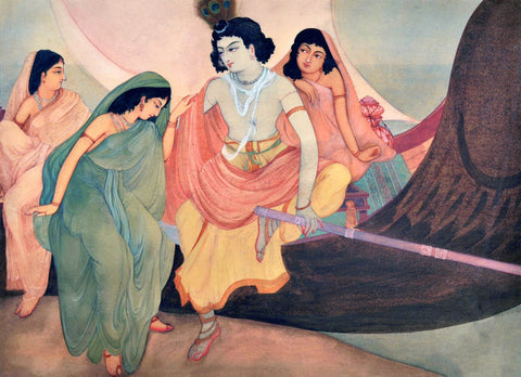 Boating Radha Krishna (Nauka Vihar) - Nandalal Bose - Bengal School Indian Painting by Nandalal Bose