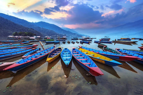 Boats Moored At Phewa Tal lake in Pokhara Nepal