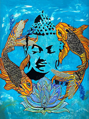 Acrylic Painting - Buddha Seen In Koi Pond