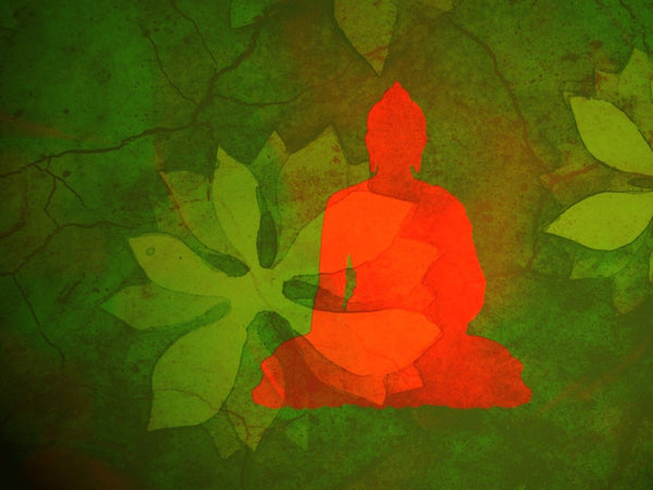 Buddha With Green Leaves Background - Posters