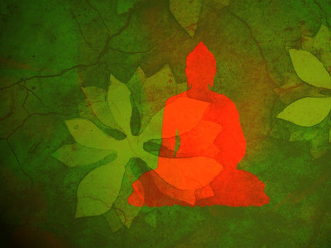 Buddha With Green Leaves Background