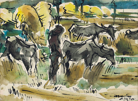 Buffaloes In The Field - Ramkinkar Baij - Bengal School Indian Painting