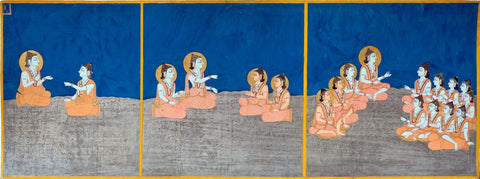Bulaki - The Transmission of Teachings - from  Nath Charit (Stories of the Naths) - Vintage Indian Miniature Marwar Painting