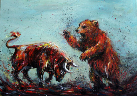 Bull Vs Bear- Art Inspired By The Stock Market by Christopher Noel