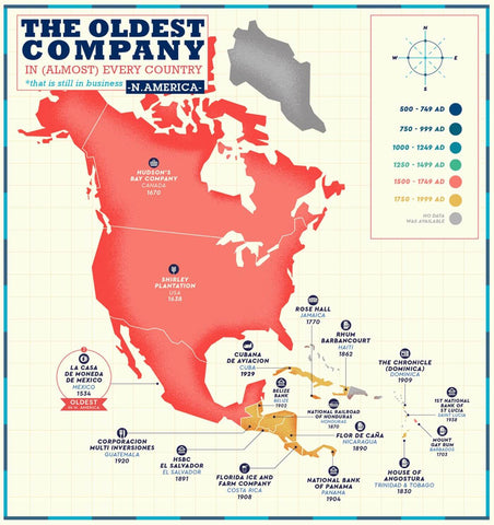 Business Map - The Oldest Company Still In Business in North America - Poster Fine Art Infographic  For Office