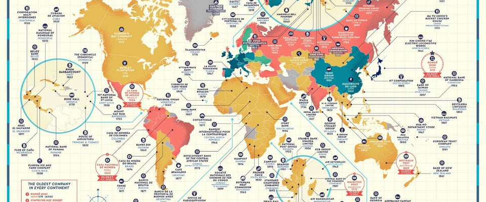 Business Map - The Oldest Company in Every Country  Of The World - Poster Fine Art Infographic For Office by Tallenge Store | Buy Posters, Frames, Canvas  & Digital Art Prints