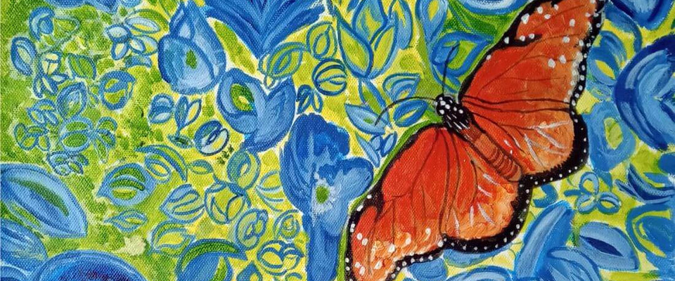 Butterfly Amongst Blue Flowers - Contemporary Oil Painting Print by Federico Cortese | Buy Posters, Frames, Canvas  & Digital Art Prints