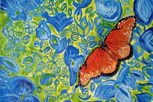 Butterfly Amongst Blue Flowers - Contemporary Oil Painting Print - Canvas Prints