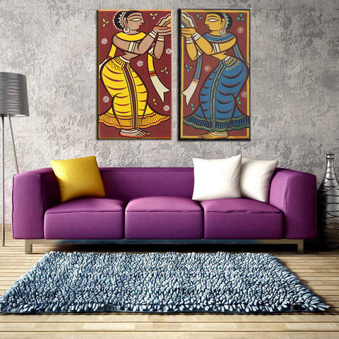 Set of 2 Jamini Roy Paintings - Gallery Wrapped Art Print (13 x 24) inches each by Jamini Roy