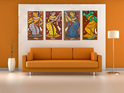 Set of 4 Jamini Roy Paintings - Gallery Wrapped Art Print (13 x 24) inches each by Jamini Roy