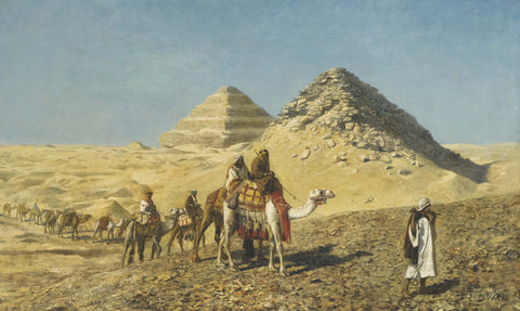 Camel Caravan Amid The Pyramids - Canvas Prints