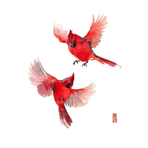 Cardinals Take Wings - Watercolor Painting - Bird Wildlife Art Print Poster