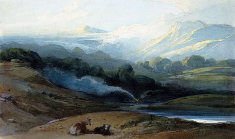 Cattle Resting in a Mountainous Landscape - George Chinnery - c 1812 - Vintage Orientalist Painting of India