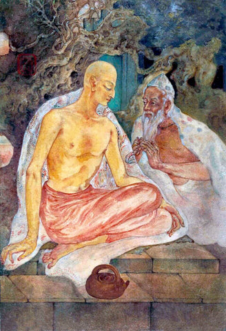 Chaitanya And Haridas - Nandalal Bose - Bengal School Indian Painting by Nandalal Bose