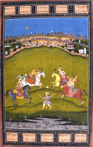 Indian Miniature Paintings - Rajput painting - Chand Bibi Playing Polo