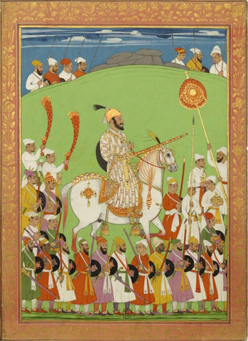 Chattrapati Shivaji Maharaj - Vintage Indian Miniature Painting by Nayar