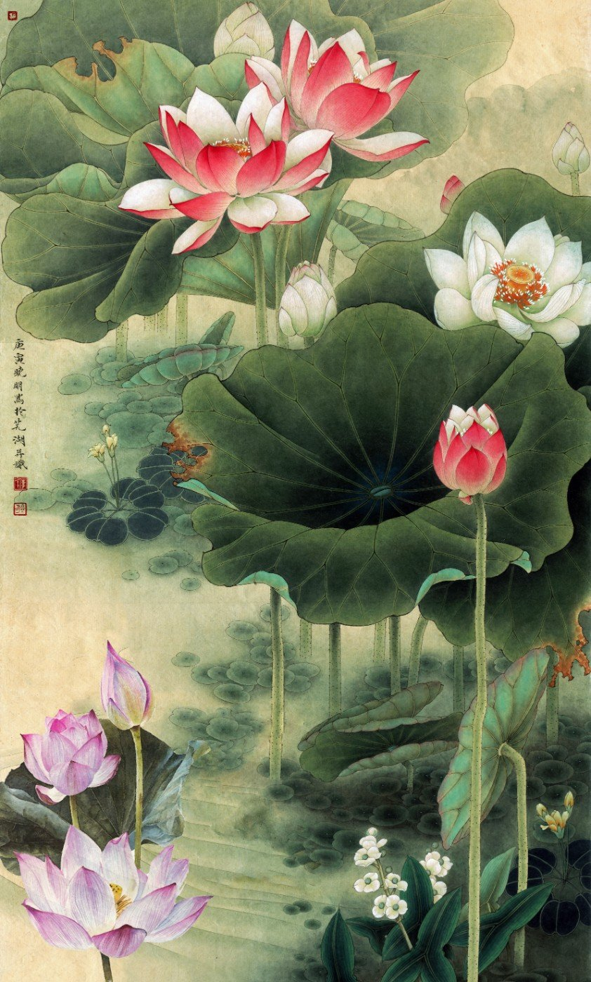 Chinese gongbi painting nine lotus posters by tallenge store chinese gongbi painting nine lotus posters izmirmasajfo