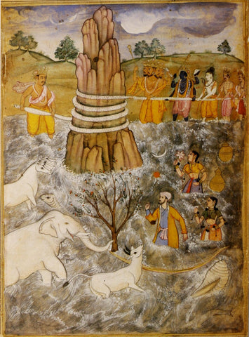 Razmnama - Churning Of The Ocean Manthan -C 1598-99 - Indian Miniature Painting by Tallenge Store