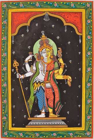 Classical Indian Painting - Shiva as Ardhanareeshwar - Shiva Shakti by Jayadeva Sinha