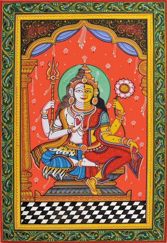 Classical Indian Painting - Shiva as Ardhanarishvar - Shiva Shakti by Jayadeva Sinha