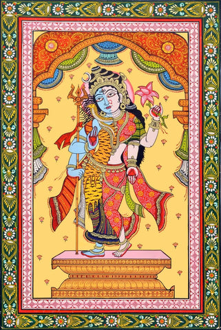 Classical Indian Painting - Shiva as Ardhanarishvara - Shiva Shakti by Jayadeva Sinha