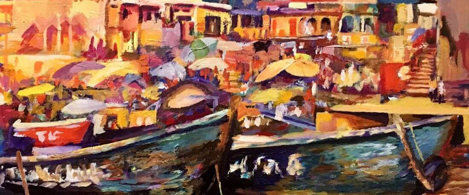 Colorful Benaras (The Holy City of Varanasi) Painting by Shriyay | Buy Posters, Frames, Canvas  & Digital Art Prints