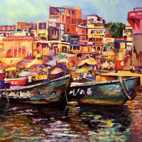 Colorful Benaras (The Holy City of Varanasi) Painting