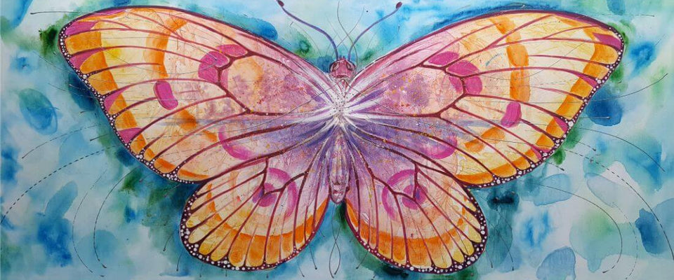 Colorful Butterfly - Contemporary Watercolor Painting Art Print by Federico Cortese | Buy Posters, Frames, Canvas  & Digital Art Prints