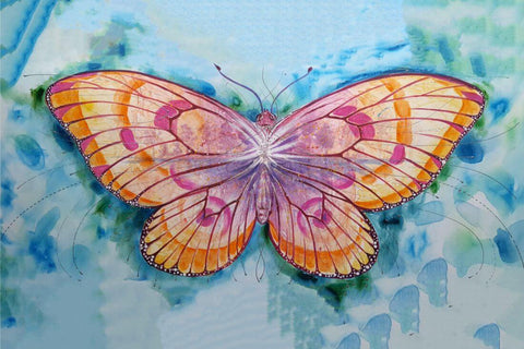 Colorful Butterfly - Contemporary Watercolor Painting Art Print by Federico Cortese