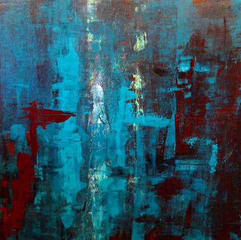 Contemporary Abstract Art  - Symphony In Teal - Posters