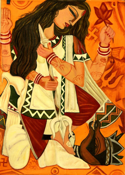 Contemporary Indian Art - Durga - Framed Prints