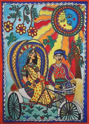 Indian Miniature Art - Mithila Style - The Evening Ride by Kritanta Vala