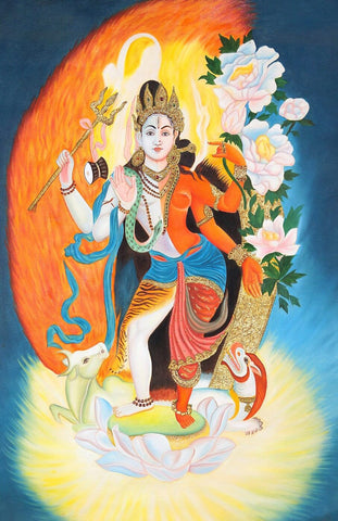 Contemporary Indian Painting - Shiva as Ardhanarishvara - Shiva Shakti by Jayadeva Sinha