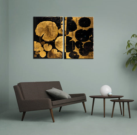 Water Lilies in Pond - Abstract Expressionism Painting - Canvas Panels (21 x 30 inches each)