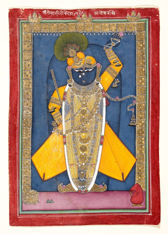 Indian Miniature Art - Krishna In The Form of Shri Nathji
