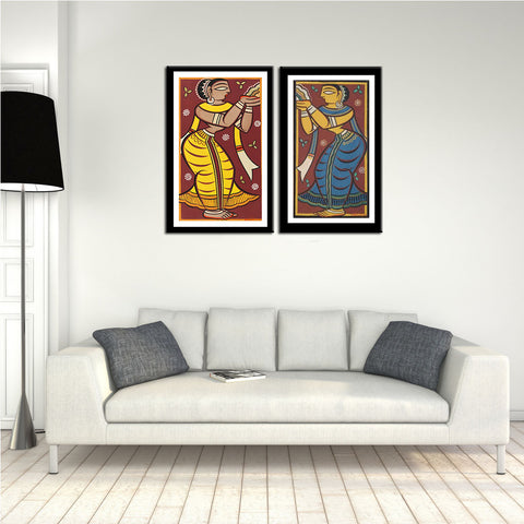 Set of 2 Jamini Roy Paintings - Framed Digital Art Print With Matte And Glass - Small (10 x 18) inches each by Jamini Roy