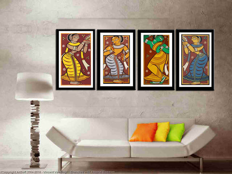 Set of 4 Jamini Roy Paintings - Framed Poster - Small (10 x 18) inches each by Jamini Roy