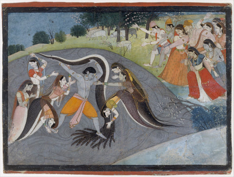 Indian Miniature Art - Lord Krishna Punishing snake Kaliya