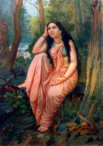 Damayanti Vanavas - Raja Ravi Varma Press Oleograph Print -  Vintage Indian Art