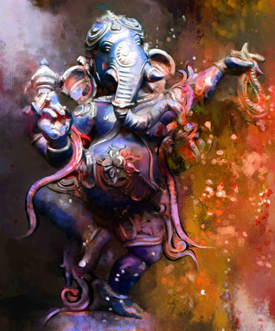 Dancing Lord Ganesha - Beautiful Indian Painting by Raghuraman
