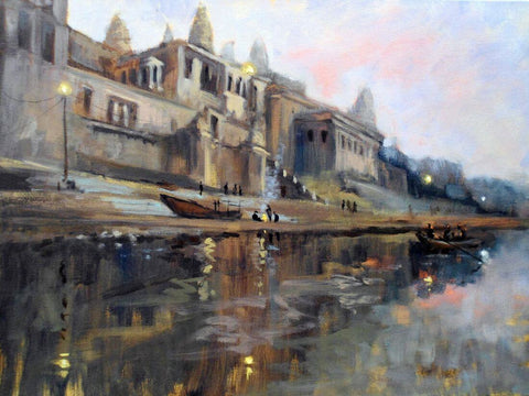 Dawn In Benaras (The Holy City of Varanasi) Painting