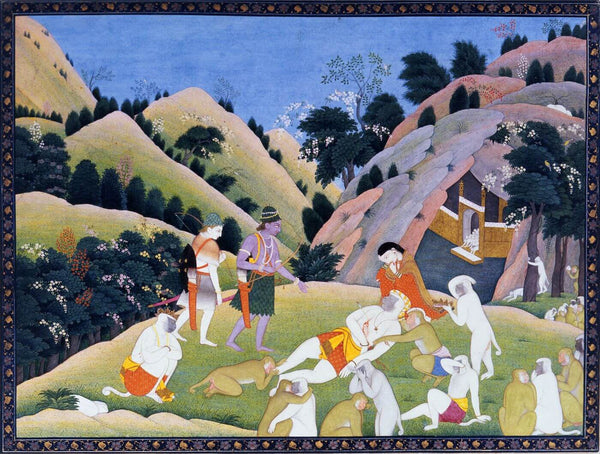 Death of Bali - Indian Miniature Painting From Ramayan - Vintage Indian Art - Art Prints