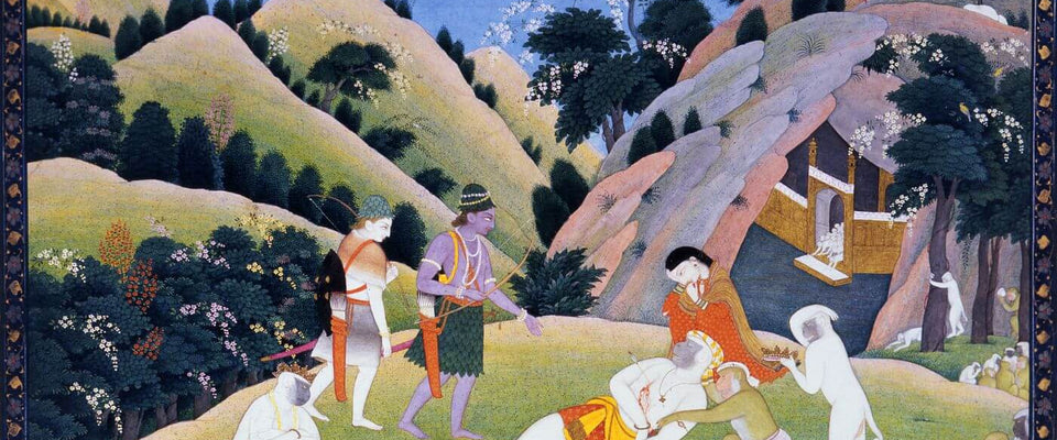 Death of Bali - Indian Miniature Painting From Ramayan - Vintage Indian Art by Kritanta Vala | Buy Posters, Frames, Canvas  & Digital Art Prints