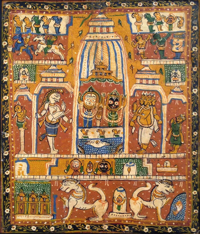 Deities Enshrined In The Jagannath Temple - PattaChitra Painting - Vintage Indian Art 19th Century