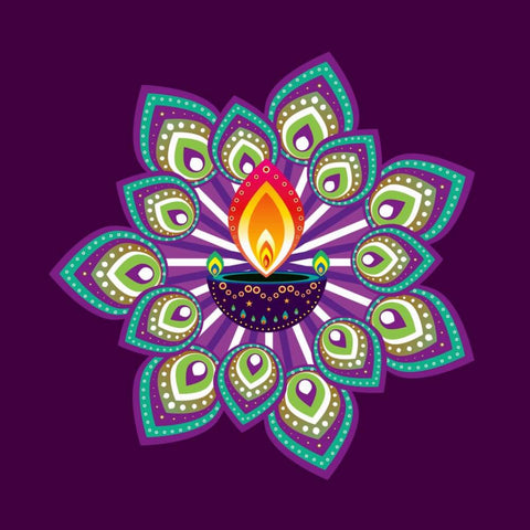 Digital Art - Decorated Diya with the Flame of Diwali