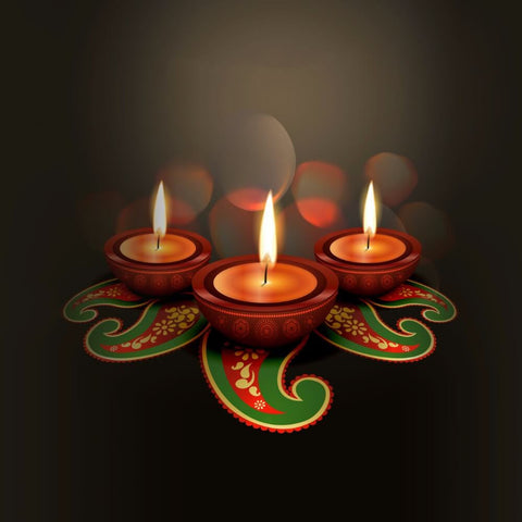 Digital Art - Decorated Diyas with the Flame of Diwali