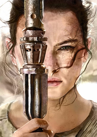 Digital Painting - Rey from Star Wars VII The Force Awakens - Hollywood Collection